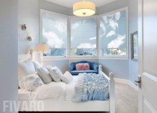 Fotorolety z chmurami w sypialni